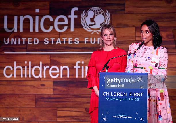 Event CoChair/Southwest Regional Board Vice Chair Joyce Goss and UNICEF CoChair Jessica Nowitzki speaks at the Children First An Evening With UNICEF...