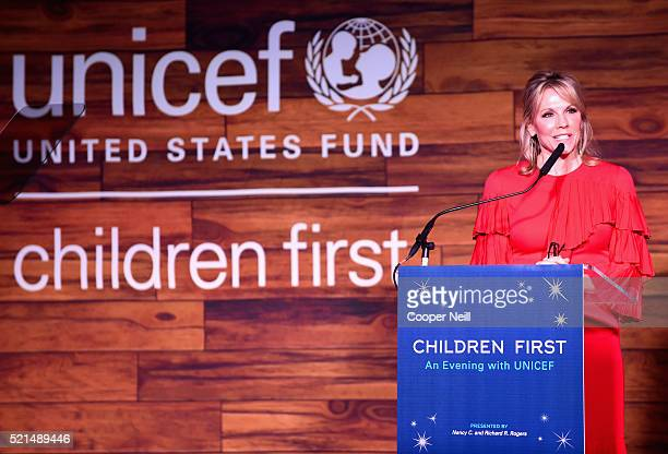 Event CoChair/Southwest Regional Board Vice Chair Joyce Goss speaks at the Children First An Evening With UNICEF on April 15 2016 in Dallas Texas