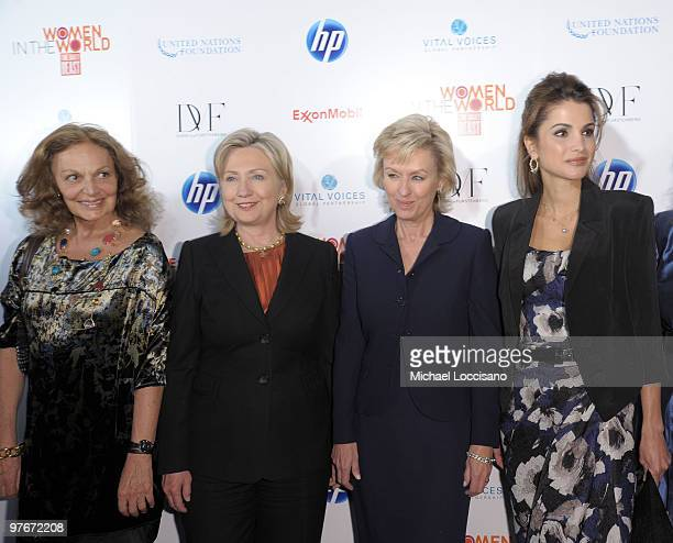 Event cohost and designer Diane von Furstenberg US Secretary of State Hillary Rodham Clinton event cohost and founder and editorinchief of The Daily...