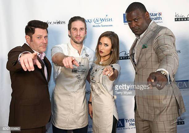 Event cohosts Rascal Flatts member Jay DeMarcus and former NFL player Kevin Carter pose with Shawn Booth and Kaitlyn Bristowe of The Bachelorette...