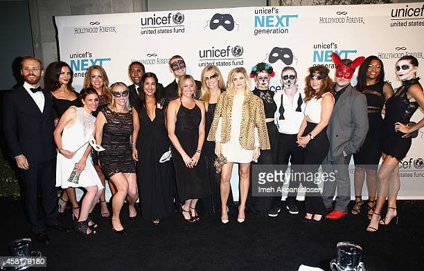 Event committee at The UNICEF Dia de los Muertos Black White Masquerade Ball at Hollywood Forever Cemetery benefitting UNICEF's education programs...