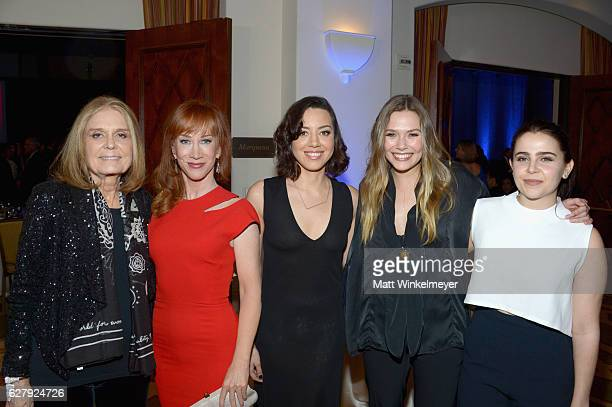 Event Committee Cochair Gloria Steinem actresses Kathy Griffin Aubrey Plaza Elizabeth Olsen and Mae Whitman attend Equality Now's third annual Make...