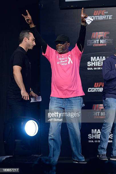 Event coordinator Burt Watson stands on stage during the UFC Fight Night: Maia v Shields weigh-in at the Ginasio Jose Correa on October 8, 2013 in...
