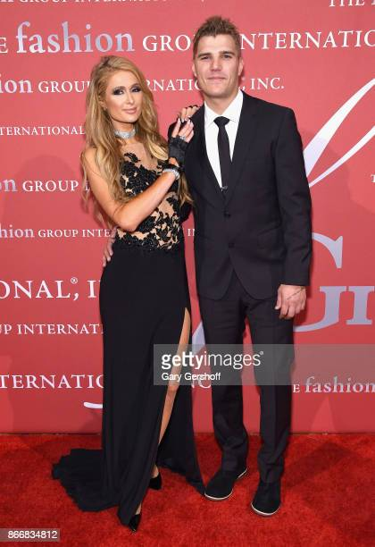 Event DJ Paris Hilton and Chris Zylka attend the 2017 FGI Night Of Stars Modern Voices gala at Cipriani Wall Street on October 26 2017 in New York...