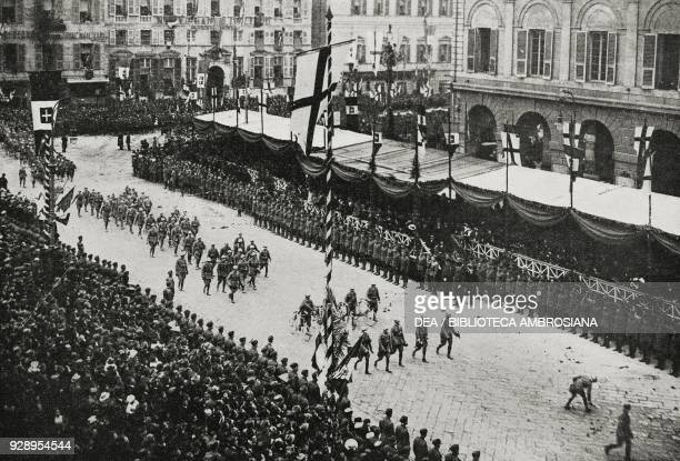 Event for the Salerno Brigade that returns from France, March 2 Genoa, Italy, from the magazine L'Illustrazione Italiana, year XLVI, no 10, March 9,...