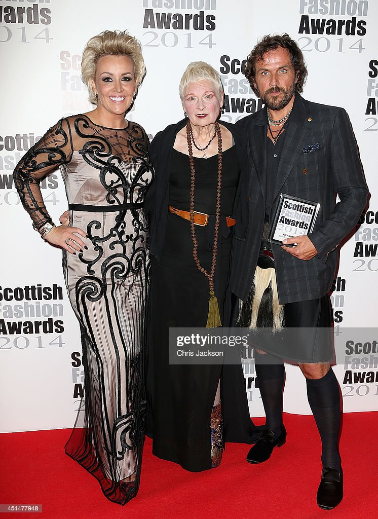 Event founder Tessa Hartmann poses with Hall of Fame Award winner Designer Dame Vivienne Westwood and Andreas Kronthaler attends The Scottish Fashion Awards on September 1, 2014 in London, England.