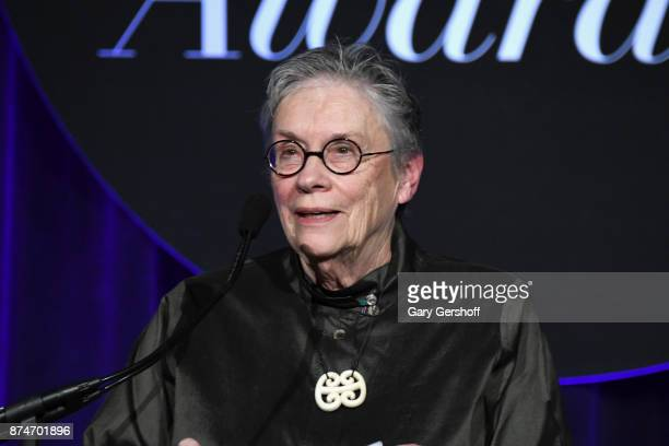 Event honoree Annie Proulx speaks during the 68th National Book Awards at Cipriani Wall Street on November 15 2017 in New York City