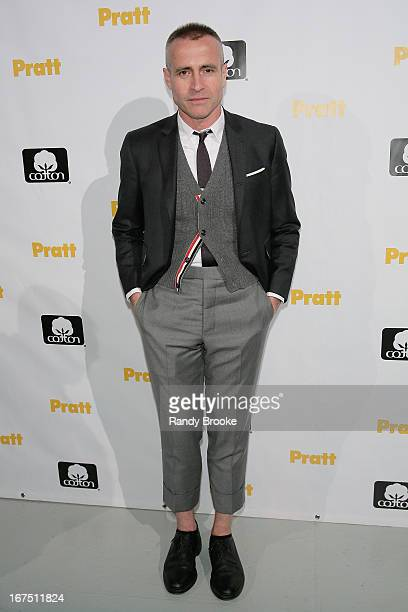 Event Honoree fashion designer Thom Browne on the red carpet before the 114th Annual Pratt Institute Fashion Show at Center 548 on April 25, 2013 in...