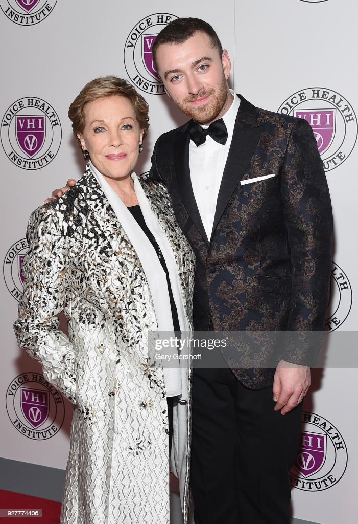 Event honoree Julie Andrews and singer Sam Smith attend the 'Raise Your Voice' concert honoring Julie Andrews at Alice Tully Hall, Lincoln Center on March 5, 2018 in New York City.