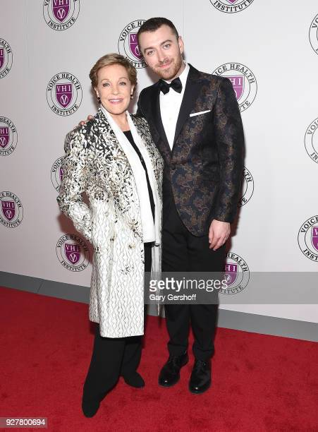 Event honoree Julie Andrews and singer Sam Smith attend the Raise Your Voice concert honoring Julie Andrews at Alice Tully Hall Lincoln Center on...