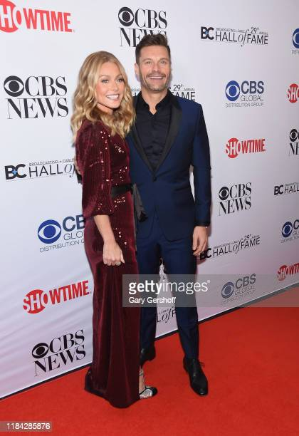 Event honoree Kelly Ripa and Ryan Seacrest attend the Broadcasting & Cable Hall of Fame Awards Anniversary Gala at The Ziegfeld Ballroom on October...