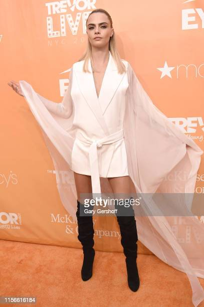 Event honoree model Cara Delevingne attends the 2019 TrevorLIVE New York Gala at Cipriani Wall Street on June 17 2019 in New York City