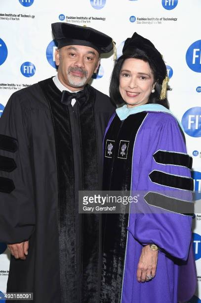 Event honoree shoe designer Christian Louboutin and President of Fashion Institute of Technology Dr Joyce F Brown attend the Fashion Institute of...