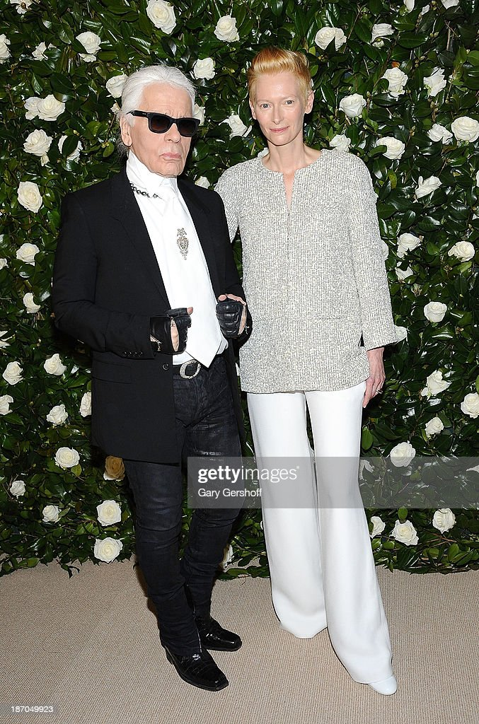 Event honoree Tilda Swinton (R) and event co-chair Karl Lagerfeld attend the Museum of Modern Art 2013 Film benefit - A Tribute To Tilda Swinton on November 5, 2013 in New York City.