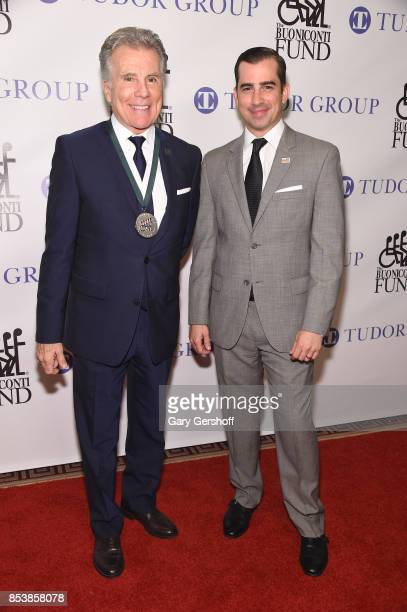 Event honoree TV personality and victim rights activist John Walsh and son Callahan Walsh attend the 32nd Annual Great Sports Legends dinner at New...