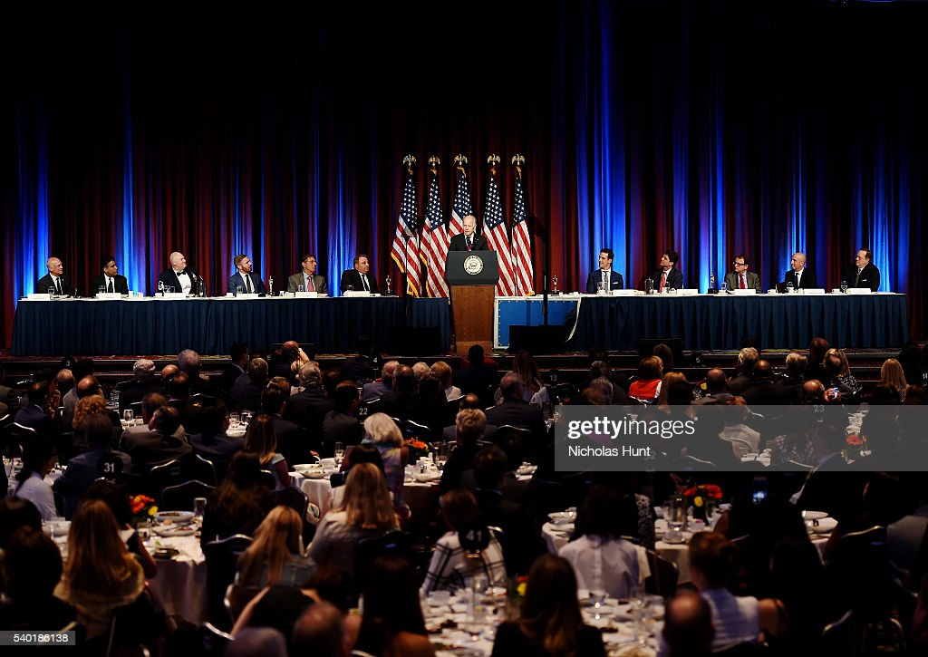 Event honoree, Vice President of the United States Joe Biden speaks on stage during the 75th Annual Father Of The Year Awards Luncheon at New York Marriott Marquis Hotel on June 14, 2016 in New York City.