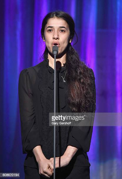 Event honoree Yazidi human rights activist UN Goodwill Ambassador Nadia Murad speaks on stage at the 10th Annual Clinton Global Citizen Awards at...