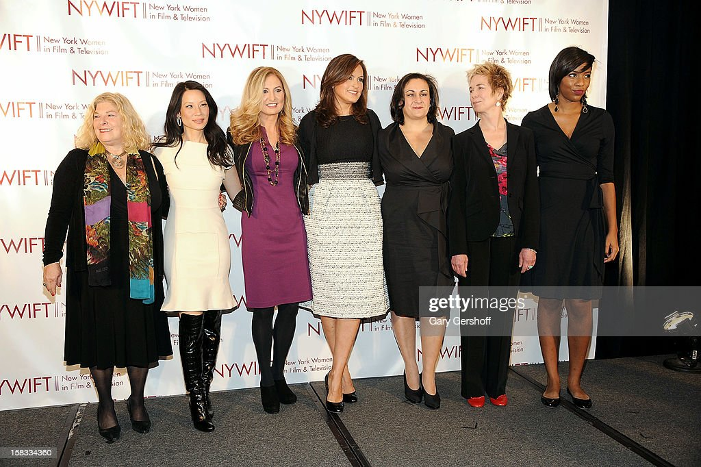 Event honorees Debra Zimmerman Lucy Liu, Kim Martin and Mariska Hargitay, and producer Alexis Alexanian, event honoree Lisa F. Jackson and event hostess Jessica Williams attend the 2012 New York Women In Film And Television Muse Awards at the Hilton New York on December 13, 2012 in New York City.