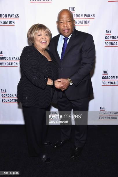 Event honorees singer Mavis Staples and US Congressman John Lewis attend the 2017 Gordon Parks Foundation Awards gala at Cipriani 42nd Street on June...