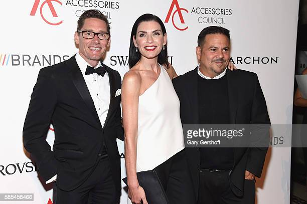 Event honorees 'The Good Wife' costume designer Daniel Lawson actress Julianna Margulies and designer Narciso Rodriguez attend the 2016 Accessories...