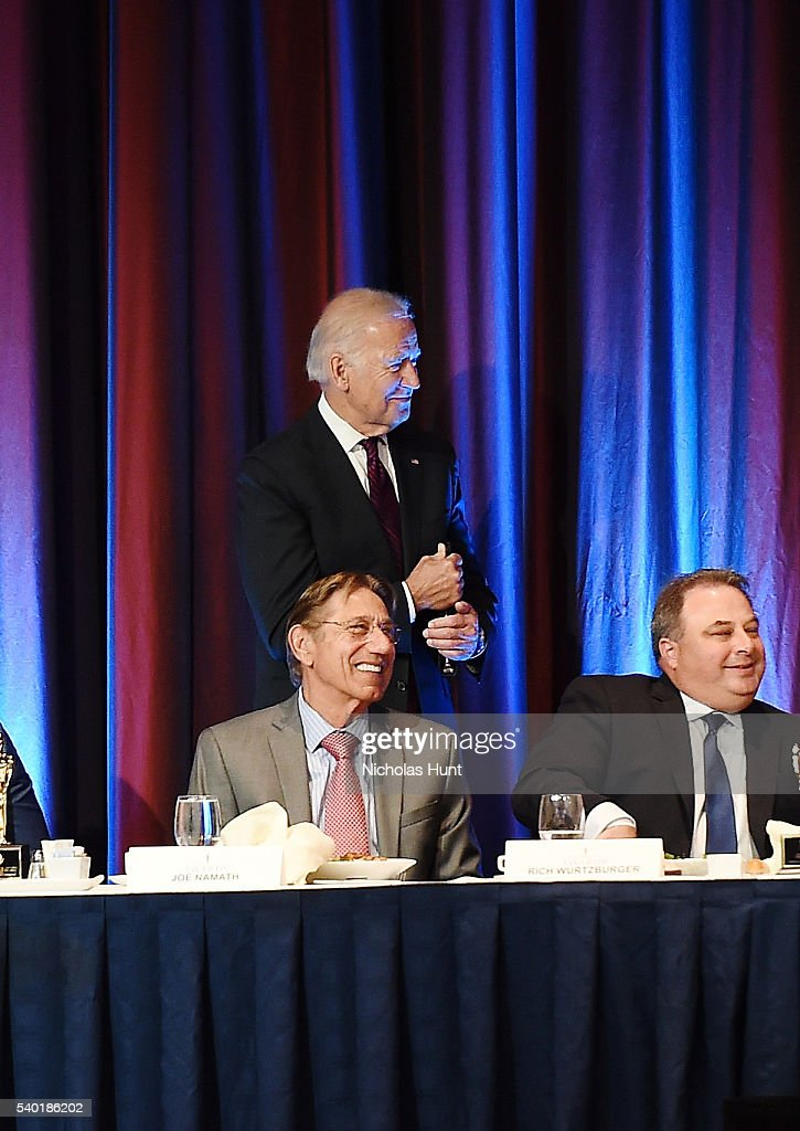 Event honorees Vice President of the United States Joe Biden and Joe Namth seen on stage during the 75th Annual Father Of The Year Awards Luncheon at New York Marriott Marquis Hotel on June 14, 2016 in New York City.
