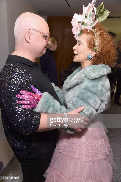 Event host Mickey Boardman and designer Patricia Fox of Purely Patricia attend Housing Works' Fashion for Action 2017 charity event at Fred's at...