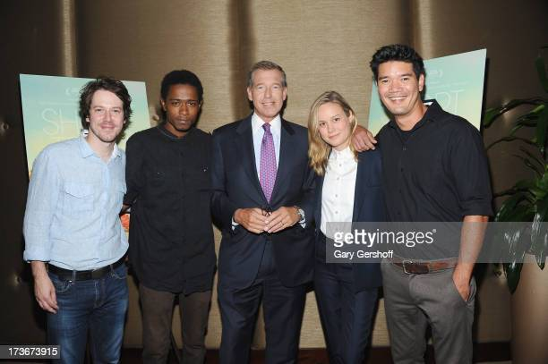 Event host NBC Nightly News anchor Brian Williams with actors John Gallagher Jr Keith Stanfield Brie Larson and director Destin Daniel Cretton attend...