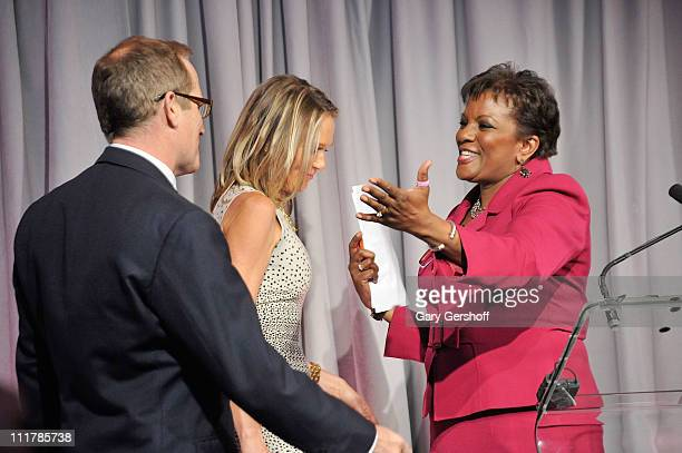 Event host Pat Battle welcomes to the stage philanthropist Glenn R Dubin and Dr Eva AnderssonDubin at the opening of Dubin Breast Center at the Tisch...