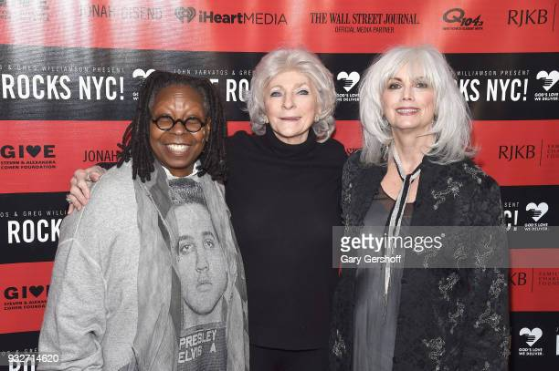 Event host Whoopi Goldberg singers Judy Collins and Emmylou Harris attend the 2nd Annual Love Rocks NYC concert benefitting God's Love We Deliver at...