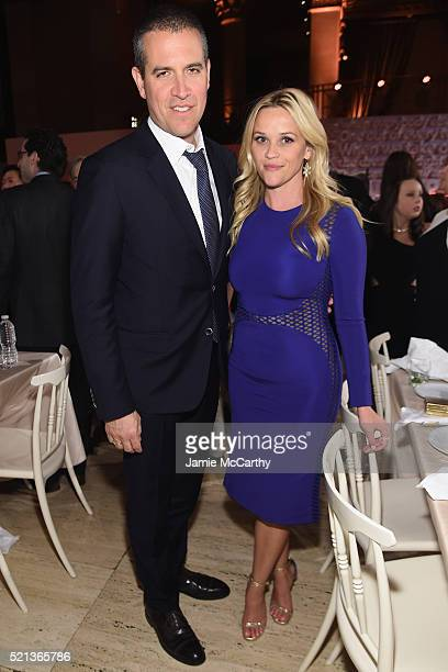 Event hosts Jim Toth and Reese Witherspoon attend Stand Up To Cancer's New York Standing Room Only presented by Entertainment Industry Foundation...