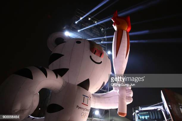 Event mascot Soohorang at the PyeongChang 2018 Winter Olympic Games torch relay on January 16 2018 in Seoul South Korea