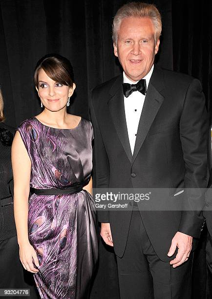 Event master of ceremonies actress Tina Fey and former Public Service Award honoree and Chairman CEO GE Jeffrey R Immelt attend the 56th annual...