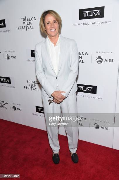 Event moderator Mary Carillo attends 'The Journey Sarah Jessica Parker' screening premiere during the 2108 Tribeca Film Festival at Spring Studios on...
