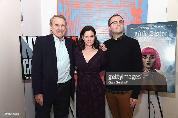 Event moderator Peter Travers actress Ally Sheedy and director Zach Clark attend the New York Film Critics series 'Little Sisters' QA at The Core...