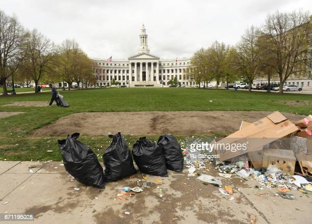 Event organizers hired homeless and daylabor workers to clean after the 4/20 marijuana event Civic Center Park April 21 2017 in Denver Colorado