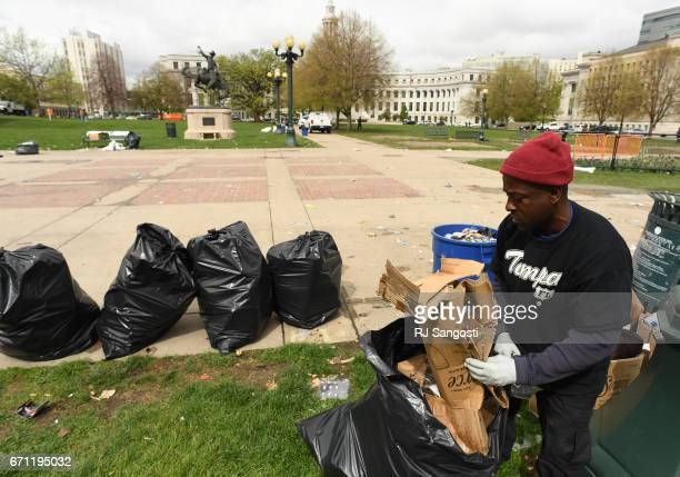 Event organizers hired Thomas Watson a homeless man and daylabor worker to clean after the 4/20 marijuana event Civic Center Park April 21 2017 in...