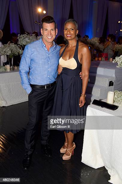 Event Planner David Tutera and Carla Kemp pose for a photo at Wendy Raquel Robinson's Gala For Amazing Grace Conservatory at Vibiana on July 9 2015...