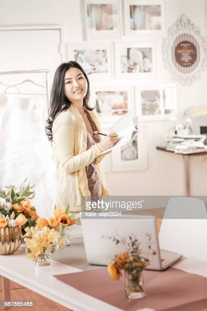 Event planner in her studio