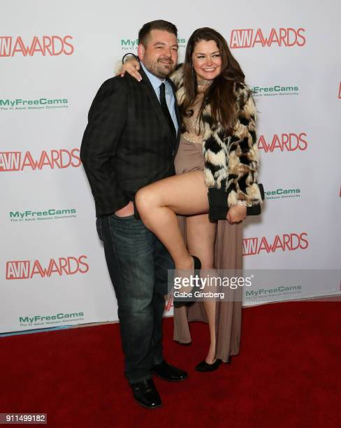 Event planner Mike Adkins and adult film actress Allie Haze attend the 2018 Adult Video News Awards at the Hard Rock Hotel Casino on January 27 2018...