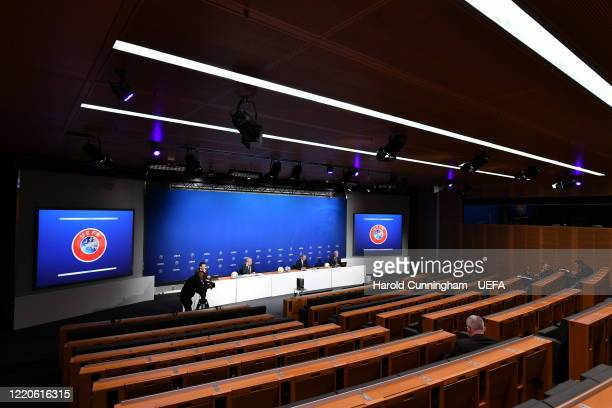 Events SA CEO Kartin Kallen, UEFA Deputy General Secretary Giorgio Marchetti, UEFA President Aleksander Ceferin and UEFA Communications Director...