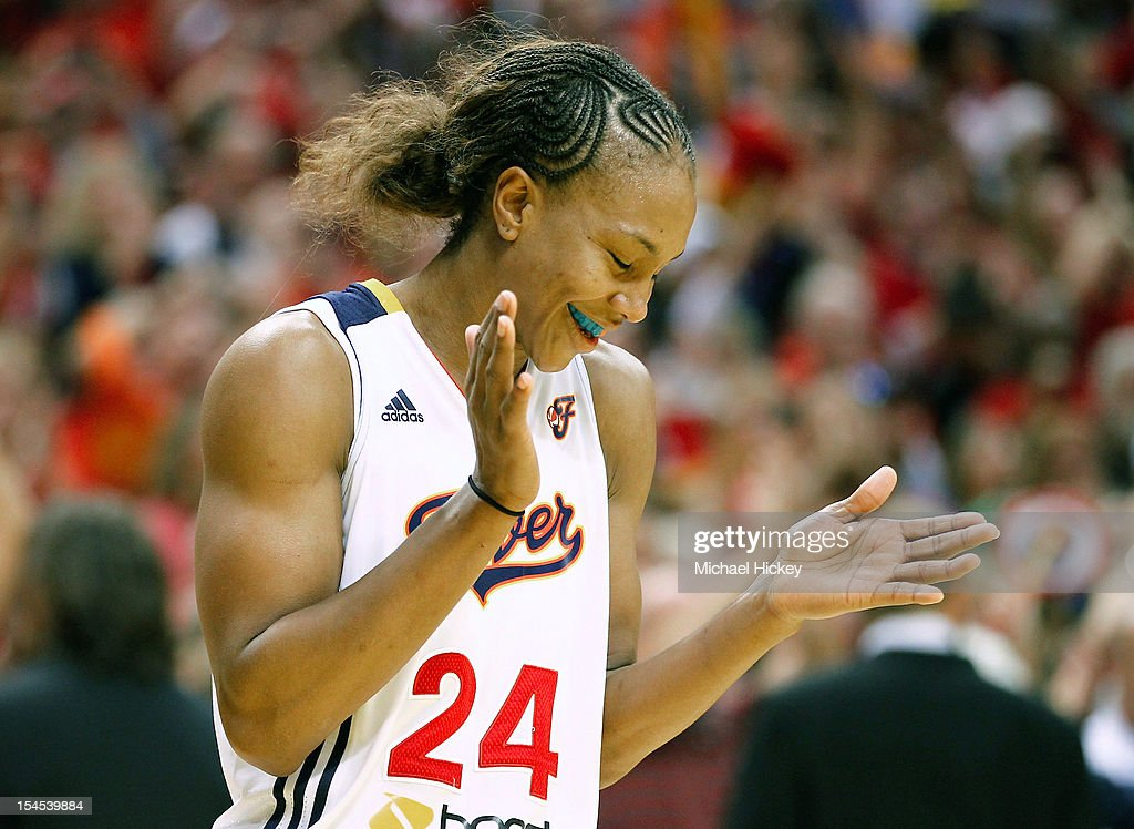Eventual MVP Tamika Catchings #24 of the Indiana Fever reacts in the closing seconds against the Minnesota Lynx during Game Four of the 2012 WNBA Finals on October 21, 2012 at Bankers Life Fieldhouse in Indianapolis, Indiana.