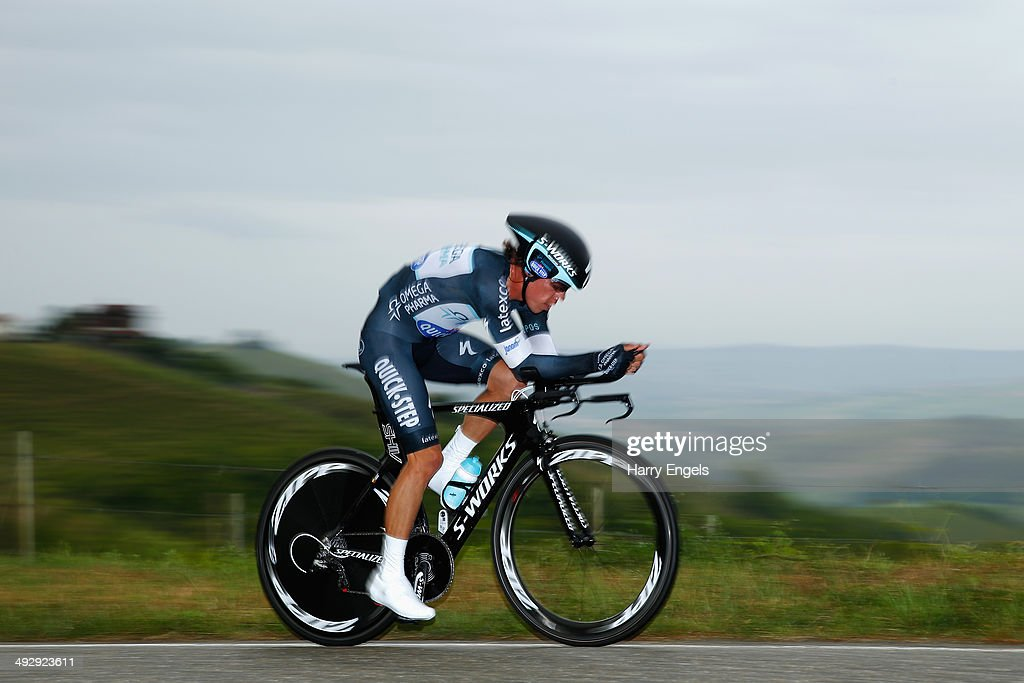 Eventual stage winner Rigoberto Uran of Colombia and team Omega Pharma-QuickStep in action during the twelfth stage of the 2014 Giro d'Italia, a 42km Individual Time Trial stage between Barbarasco and Barolo on May 22, 2014 in Barbarasco, Italy.