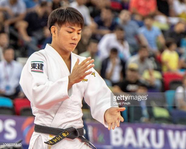 Eventual u66kg gold medallist Hifumi Abe of Japan prepares for his next contest during day two of the 2018 World Judo Championships at the National...