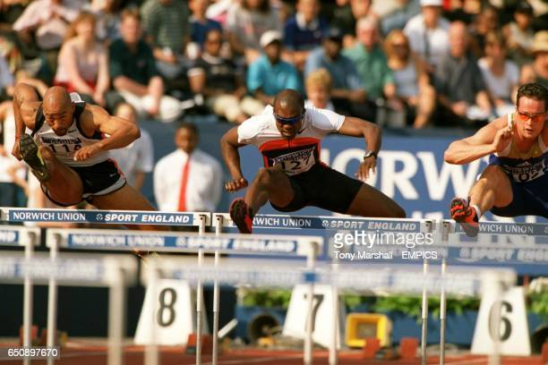 Eventual winner Allen Johnson leads from Dominique Arnold and Robin Korving in the men's 110m hurdles