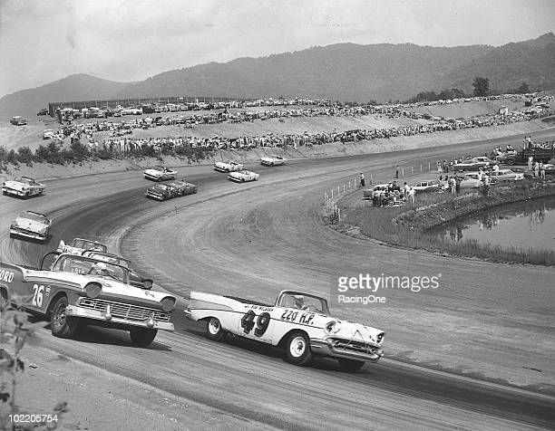 Eventual winner Bob Welborn and Curtis Turner lead the pack during a NASCAR Convertible Division race at AshevilleWeaverville Speedway