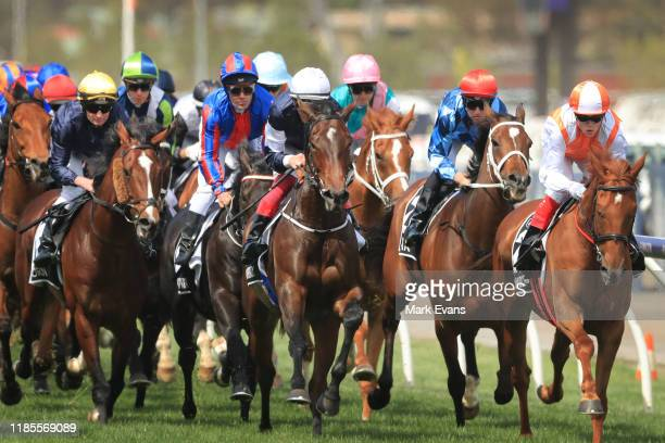 Eventual winner Craig Williams on Vow And Declare in the lead on the first lap during the 2019 Melbourne Cup Day at Flemington Racecourse on November...