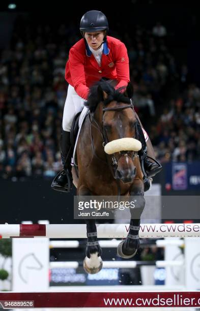 Eventual winner Elizabeth Beezie Madden of USA riding Breitling LS competes in the FEI World Cup Jumping Final during the FEI World Cup Paris Finals...