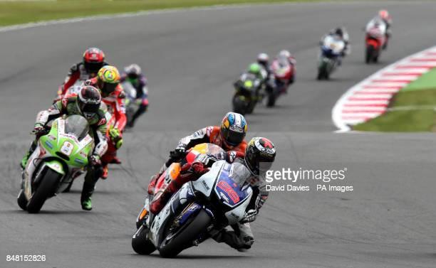 Eventual winner Jorge Lorenzo during the British round of Moto GP at Silverstone Circuit, Northamptonshire.