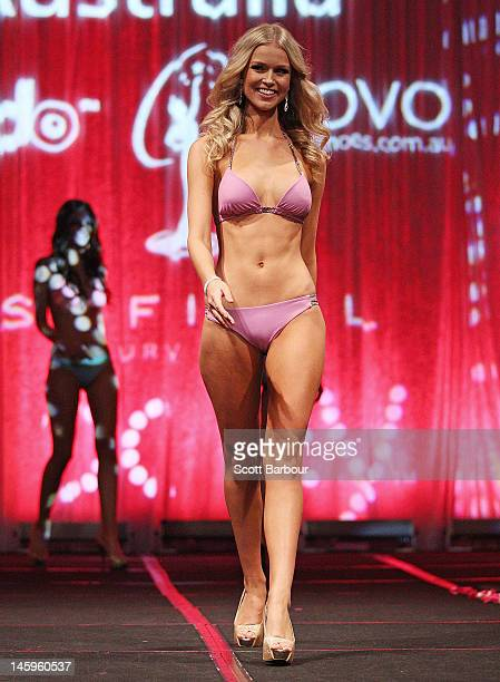 Eventual winner Renae Ayris of Western Australia models swimwear by Kooey during the crowning ceremony to announce the 2012 Miss Universe Australia...