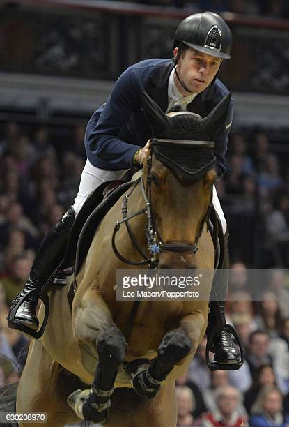 Eventual winner Scott Brash of Great Britain riding HelloM'Lady in the Longines FEI World Cup Leg at Olympia London on December 18 2016 in London...